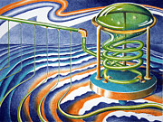 Surrealism Pastels - Stripe Factory by Alan Rutherford
