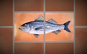 Fish Ceramics Posters - Striped Bass Poster by Andrew Drozdowicz