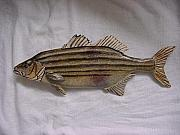 Largemouth Bass Reliefs - Striped Bass-wooden- Living Waters Series  by Lisa Ruggiero