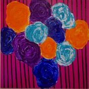Flashy Painting Originals - Striped Flowers by Evelyne Mathieu-Stambouli