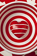 Round Photo Prints - Striped heart in bowl Print by Garry Gay