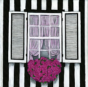 Debbie Brown Prints - Striped House Print by Debbie Brown