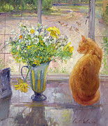 White Painting Metal Prints - Striped Jug with Spring Flowers Metal Print by Timothy Easton