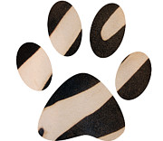 Animal Paw Print Posters - Striped Paw Print Poster by Fiona Allan