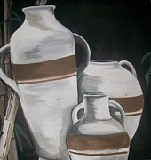 Water Jars Paintings - Striped Water Jars by Trudy-Ann Johnson