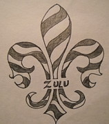 Mardi Gras Drawings - Striped Zulu by Marian Hebert