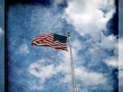 Abstract American Flag Posters - Stripes and Stars and Clouds in the Sky Poster by Susanne Van Hulst