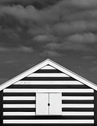 Beach Hut Posters - Stripes On Beach Hut Poster by James Galpin