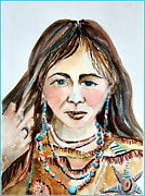 American Indian Drawings - Stroking her hair by Mindy Newman