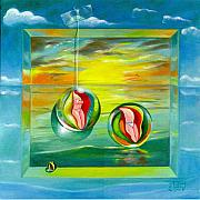 Marbles Paintings - Strollin Miami Beach at Sunset by Roger Calle