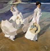 White Dress Posters - Strolling along the Seashore Poster by Joaquin Sorolla y Bastida