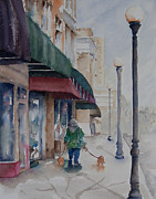 Dog Walking Painting Posters - Strolling Poster by Amy Caltry