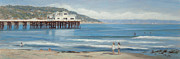 Malibu Painting Posters - Strolling at the Malibu Pier Poster by Tina Obrien