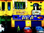 Fruit Store Photos - Strolling by Funky Frutas de Santiago  by Funkpix Photo  Hunter
