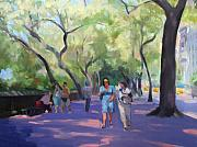 New York Painting Posters - Strolling in Central Park Poster by Merle Keller