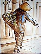 Asian Market Paintings - Strolling by Myra Evans