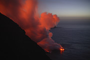 Incline Photo Posters - Stromboli Eruption, Sea Entry, Aeolian Poster by Martin Rietze