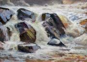 Waterfalls Paintings - Strong Falls Plein Air Demo by Larry Seiler
