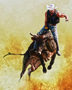 Bull Riding Posters - Strong Heart Poster by Ron  McGinnis