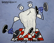 Canvas Mixed Media Originals - Strong Teeth by Anthony Falbo