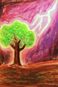 Fantasy Tree Pastels Posters - Struck Poster by Brandi Webster