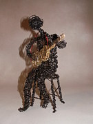 Wire Sculpture Sculptures - Strummin the Blues by Charlene White