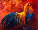 Chickens Paintings - Strutting His Stuff - Rooster by Marion Rose