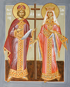 Egg Tempera Prints - Sts Constantine and Helen Print by Julia Bridget Hayes