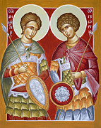 Martyrs Painting Posters - Sts Dimitrios and George Poster by Julia Bridget Hayes