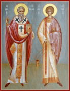 Byzantine Icon Prints - Sts Niphon and Evplos Print by Julia Bridget Hayes