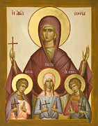 Sts Sophia Faith Hope And Love Paintings - Sts Sophia Faith Hope and Love by Julia Bridget Hayes