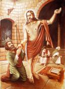 Byzantine Painting Prints - St.thomas Finds Jesus After Resurrection Print by Anup Roy