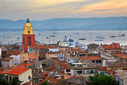 Ships Photos - St.Tropez at sunset by Elena Elisseeva