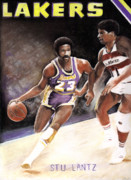 Lakers Pastels Prints - Stu Lantz Print by Raymond L Warfield jr