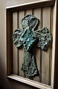Rustic Ceramics - Stucco Cross on Cabinet Front by Amanda  Sanford