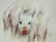 Pig Pastels Framed Prints - Stuck In The Middle Framed Print by Cori Solomon