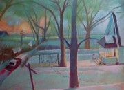 Back Porch Paintings - Stuck in the Snow in the Alley by Bobbi Baltzer-Jacobo