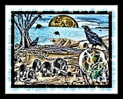 Crows Greeting Cards Prints - Stuck Inside Print by Tisha McGee