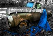 Blue Tarp Posters - Studebaker Truck and Blue Tarp Poster by Kevin Felts