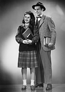 Plaid Skirt Framed Prints - Student Couple Posing In Studio, (b&w), Portrait Framed Print by George Marks