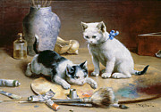 Kittens  Paintings - Studio Assistants by Carl Reichert