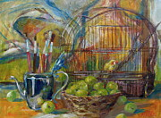 Cage Paintings - Studio Bird by Maryann Leake