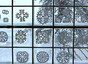 Paper Cut Outs Prints - Studio Window in Winter Print by Lyn Holton
