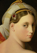 Jewelry Metal Prints - Study for an Odalisque Metal Print by Ingres