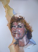 Watercolour Portrait Prints - Study for Jeni Print by Ray Agius