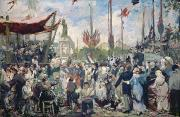 Festival Painting Prints - Study for Le 14 Juillet 1880 Print by Alfred Roll