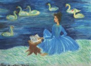 Study For Swan Lake Reader Print by Sushila Burgess