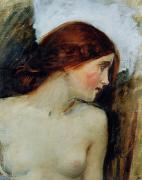 Sketch Painting Prints - Study for the Head of Echo Print by John William Waterhouse