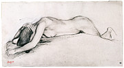 Nude Woman Drawings - Study for War Scene in the Middle Ages by Edgar Degas