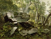 Wild Woodland Painting Posters - Study from Nature - Rocks and Trees Poster by Asher Brown Durand